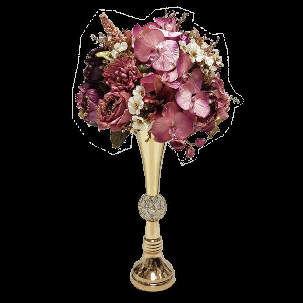 אגרטל זהב ופרחי משי