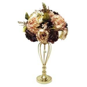 סידור פרחים עגול בגווני זהב באגרטל זהב