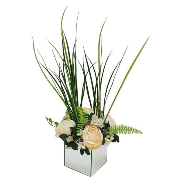 אגרטל מראה עם פרחי משי מדהימים