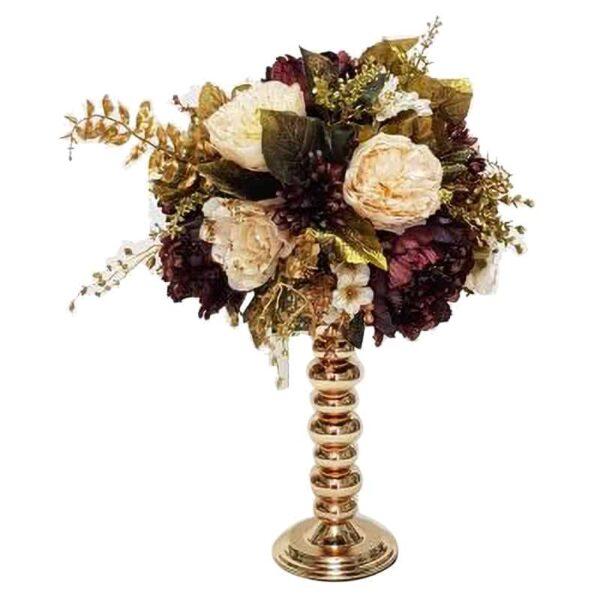 שזירת פרחי משי באגרטל זהב יפה