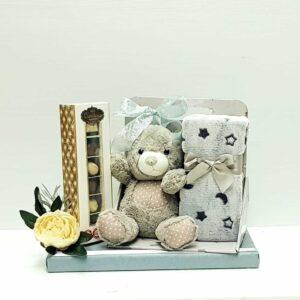 מתנה ללידה דובי שמיכי בעיצוב שוקולד