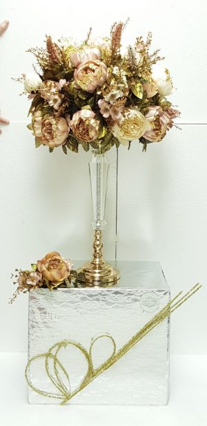 עיצוב אגרטל פרחי משי מתנה לכלה