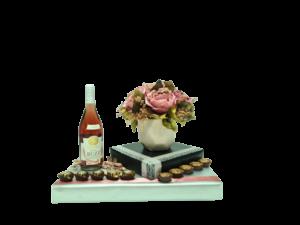 אגרטל פרחי משי בעיצוב יין ושוקולדאגרטל פרחי משי בעיצוב יין ושוקולדאגרטל פרחי משי בעיצוב יין ושוקולד