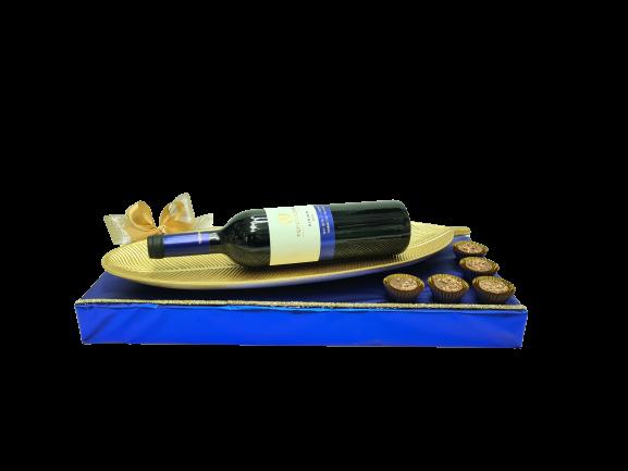 משלוח מנות קערת נוי יין ושוקולד