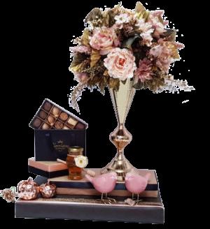 עיצוב מתנה שוקולד ואגרטל פרחי משי