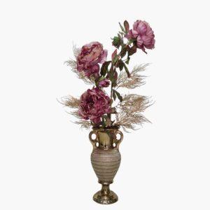אגרטל זהב מעוצב פרחי וענפי משי